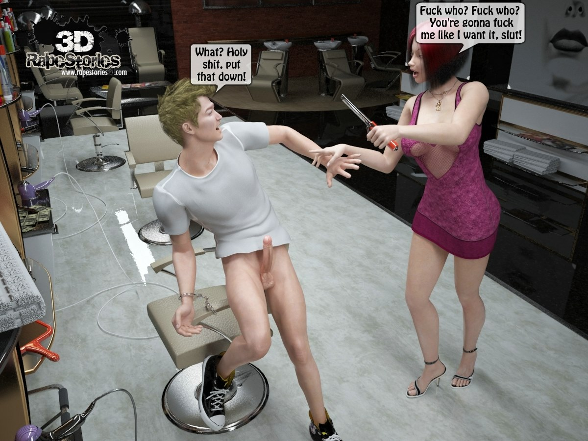 Two boys rape a woman at haircut- 3DStories - part 2